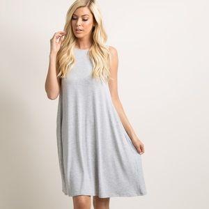 Heather Grey Sleeveless High Neck Swing Dress